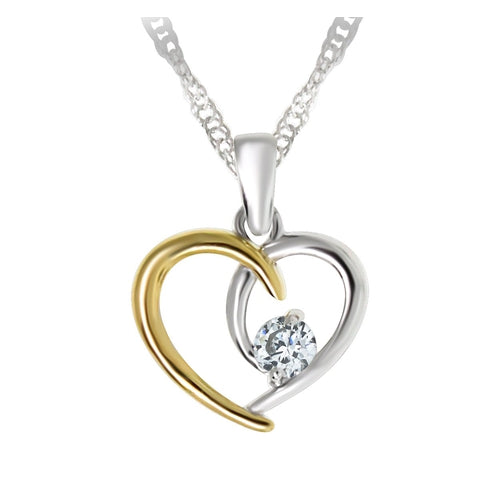 Sterling Silver Two Tone Heart Cubic Zirconia Pendant
