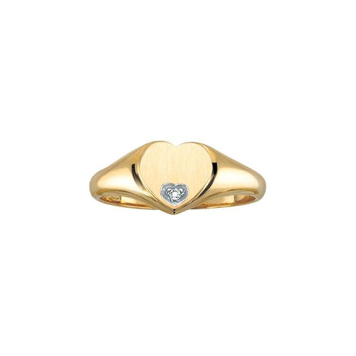 10 K YG 1 DIA= .007 CT HEART SHAPE ENGRAVABLE BRUSHED FINISH SIGNET RING