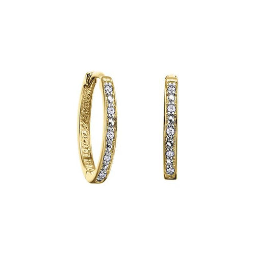 10K Y GOLD 10 DIA= .05 CTW HOOP EARRINGS