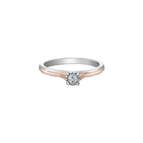 10K WR GOLD 1 DIA= .05 CT ILLUSION SETTING SINGLE STONE PROMISE RING