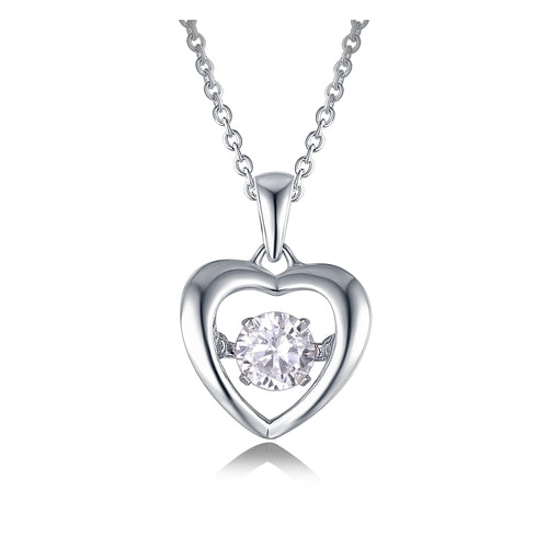 Sterling Silver Heart Cubic Zirconia Dancer Pendant
