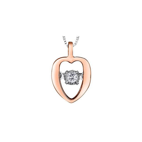 10k White and Rose Gold Diamond Pulse Heart-shaped Pendant, DIA = 0.02 CTW (SKU 24613)