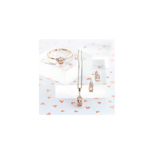 10 K R&W 3 ROUND DIA= .03 CTW 1 OVAL SHAPE MORGANITE 6X4MM DROP STYLE PENDANT WITH WHITE GOLD FINE CHAIN