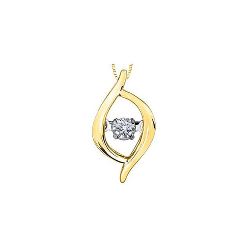 10k Yellow Gold Diamond Pulse Marquise-shaped Pendant, DIA = 0.02 CTW (SKU 24611)