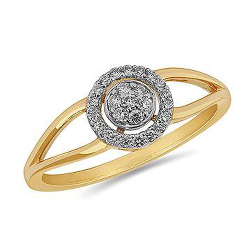 10K Yellow Gold and Diamond Round Halo Cluster Ring in Pave Setting (32318)