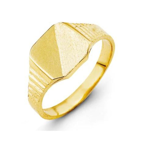 G BELLA BABY 10KY GOLD SIGNET RING, HIGH & BRUSH POLISH, GROOVES ON SHOULDER RING