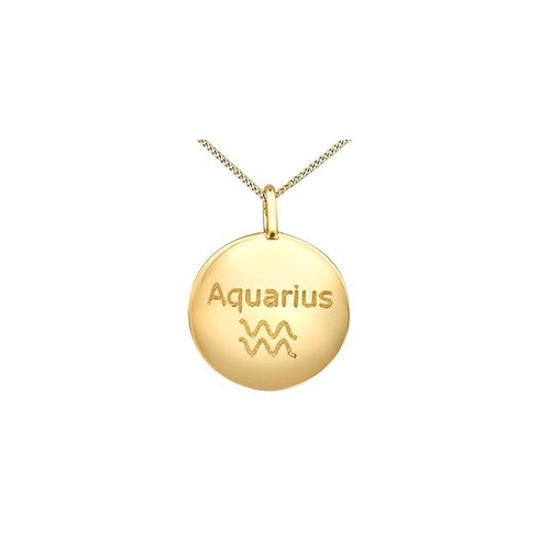 "10K Y GOLD 4 DIA= .012 CTW ZODIA SIGN ""AQUARIUS"" ROUND SHAPE PENDANT WITH FINE CURB CHAIN"