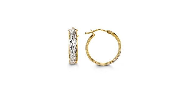 G BELLA GOLD COLLECTION 10KY&W GOLD HOLLOW HOOP DIA-CUT DESIGN EARRINGS