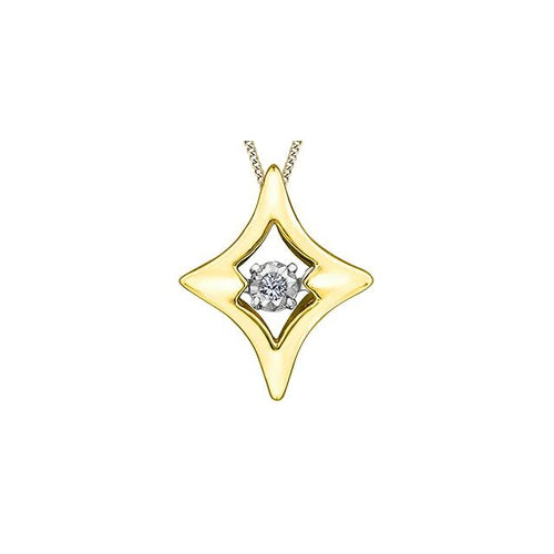 10 K Y&W 1 ROUND DIA= .01 CT PULSE COLLECTION DIA SHAPE/ STAR PENDANT WITH FINE WGOLD CURB CHAIN