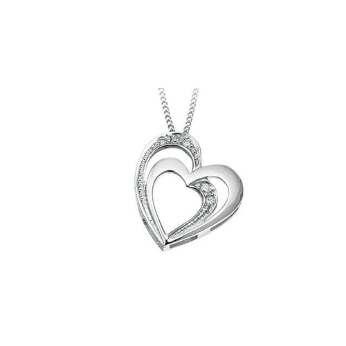 10K W GOLD 5 DIA= .03 CTW DOUBLE HEART STYLE PENDANT WITH FINE CURB CHAIN