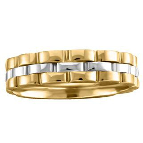 "10KT YELLOW & WHITE ""ROLEX"" STYLE PLAIN WEDDING BAND (SKU 32213)"