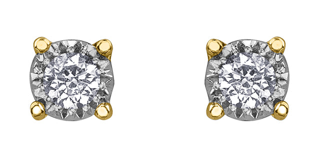 10 K Y&W 2 ROUND DIA= .15 CTW ILLUMINAIRE COLLECTION, ILLUSION SETTING STUD EARRINGS, BUTTERFLY BACKINGS