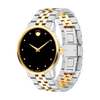 "GTS MOVADO ""MUSEUM CLASSIC"" WATCH QUARTZ 40MM CASE, 2TONE,  YELLOW GOLD PVD- FINISHED STAINLESS ROUND FACE BLACK DIAL 11 DIAMONS MARKERS, SAPPHIRE CRYSTAL"