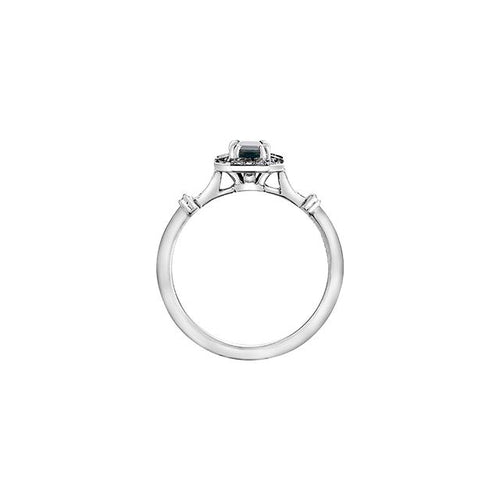 10 K WG 16 DIA= .08 CTW, 2 WHITE SAPPHIRE 2.8 MM (1.4MM EACH) 1 BLUE SAPPHIRE EMERALD CUT 6X4MM RECT SHAPE HALO STYLE SETTING BIRTHSTONE RING
