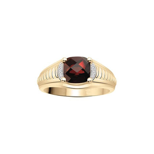 10 K YG 6 DIA= .017 CTW, 1 CUSHION SHAPE GARNET 8X8MM CLAWS SETTING, GROOVE DESIGN ON SHOULDER RING