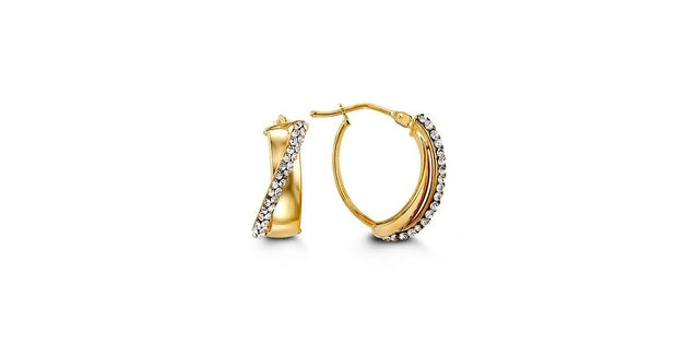 "G BELLA GOLD COLLECTION 10KY GOLD ""X"" STYLE W/ CUBICS HOLLOW HOOP EARRINGS"