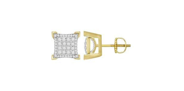 Men's Earrings .50ct Round Diamond 10k Yellow Gold (31201)