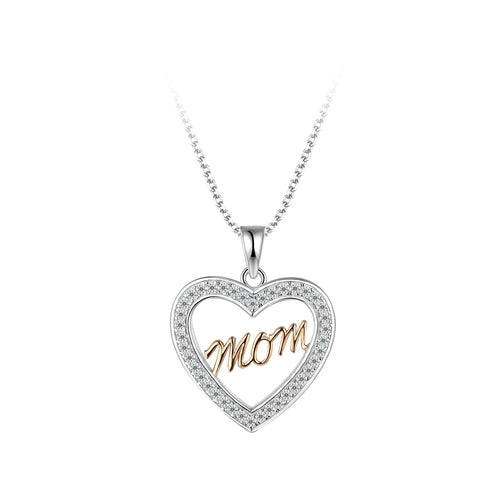 "Sterling Silver Two Tone ""MOM"" Heart Cubic Zirconia Pendant"