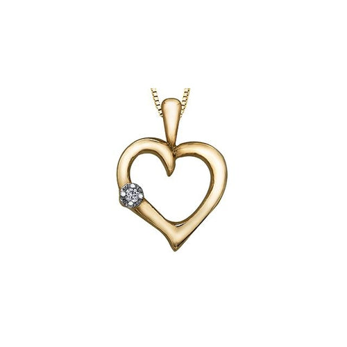 10k Yellow Gold Diamond Heart-shaped Pendant, DIA = 0.015 CTW (SKU 24566)