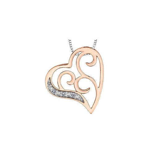 10k White and Rose Gold Diamond Heart-shaped Pendant, DIA = .015CT (SKU 24547)