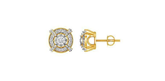 Men's Earrings .50ct Round Diamond 10k Yellow Gold (31186)