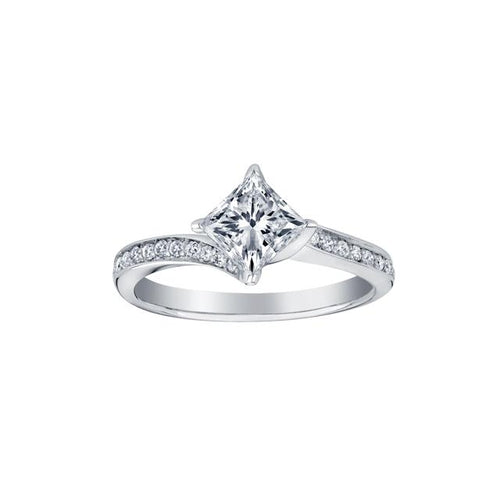14 K WG 23 DIA= .50 CTW ( 1 CTR PRINCESS CUT CAD DIA= .39 CT, IMP1 , F COLOUR, / 12 DIA= .15 CTW) SET IN TWISTED STYLE 4 CLAWS. ENGAGEMENT RING CAD # MLR292707