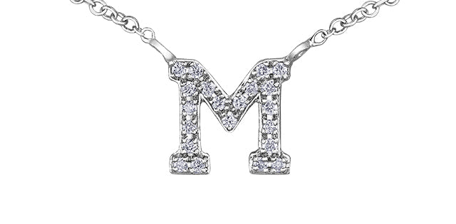 10K W GOLD 14 DIA= .105 CTW INITIAL M WITH CABLE STYLE CHAIN
