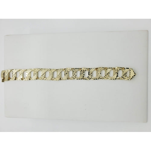 10kt Yellow Gold Round/Square Nugget with Brush Finish and Diamond Cut Link Bracelet (32199)