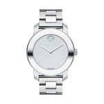 UNISEX MOVADO BOLD WATCH QUARTZ MIDSIZE 36MM CASE STAINLESS STEEL ROUND FACE SILVER COLOUR DIAL SILVER COLOUR HANDS, CRYSTALS 12 MARKER DOT, K1 CRYSTAL