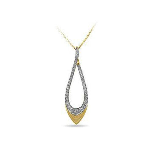 10K Yellow Gold and Diamond, Pointed Drop Shape Pendant in Split Prong (32313)