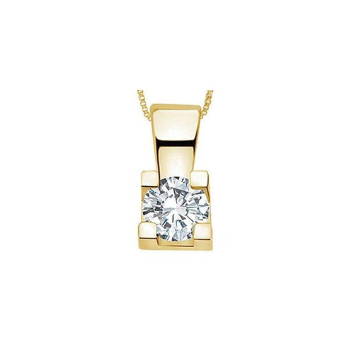 14K Y GOLD 1 ROUND DIA= .25 CT 4 CLAWS SQAURE SETTING SOLITAIRE PENDANT WITH FINE BOX CHAIN