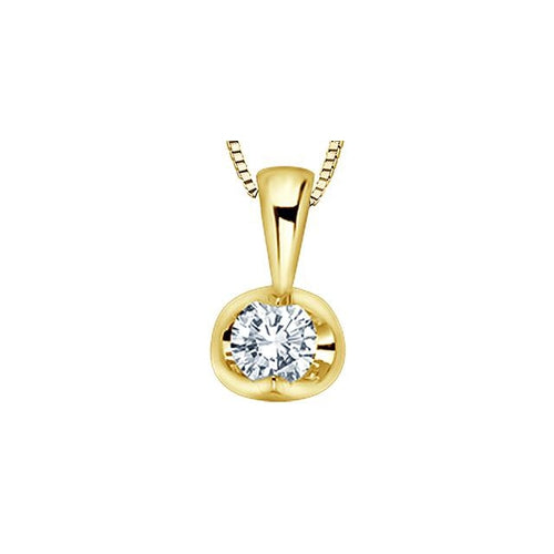 14K Y GOLD 1 DIA= .17 CT HALF-MOON STYLE, TENSION SETTING SOLITAIRE PENDANT WITH FINE BOX CHAIN