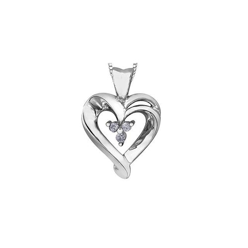 10k White Gold Diamond Heart-shaped Pendant, DIA = .045 CTW (SKU 24546)