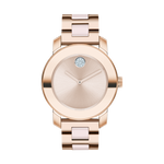 LDS MOVADO BOLD CERAMIC WATCH QUARTZ 36MM CASE PALE ROSE TONE STAINLESS STEEL WITH BLUSH CERAMIC CENTRE LINKS ROUND FACE PALE ROSE GOLD TONE DIAL EDGE TO EDGE K1 CRYSTAL, BLUSH HANDS AND CRYSTALS DOT 12 MARKER