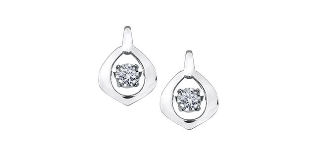 10 K WG 2 ROUND DIA= .04 CTW PULSE COLLECTION STUD EARRINGS, BUTTERFLY BACKINGS