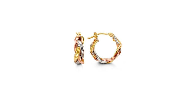 G BELLA GOLD COLLECTION 10KTRI GOLD BRAIDED STYLE, HOLLOW HOOP EARRINGS