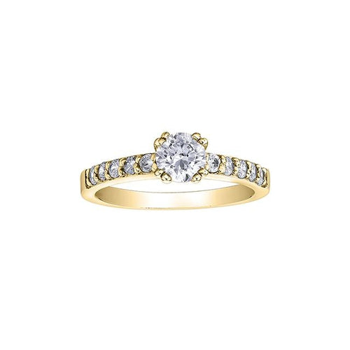 14 K YG 11 DIA= .68 CTW (1 CTR CAD DIA= .43 CT, VS2 CLARITY, K COLOUR / 10 SHOULDER DIA = .25 CTW)  CTR DIA SET IN 8 CLAWS IN TOTAL ENGAGEMENT RING CAD # MLR353619