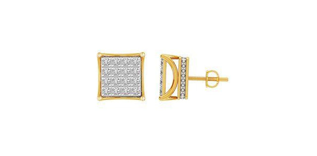 Men's Earrings 1.00ct Round Diamond 10kt Yellow Gold (31187)