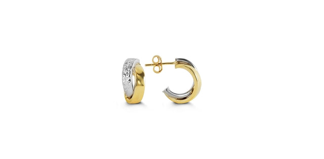 "G BELLA GOLD COLLECTION 10KY&W GOLD ""X"" STYLE, DIA- CUT DESIGN HOLLOW EARRINGS WITH BACKINGS"