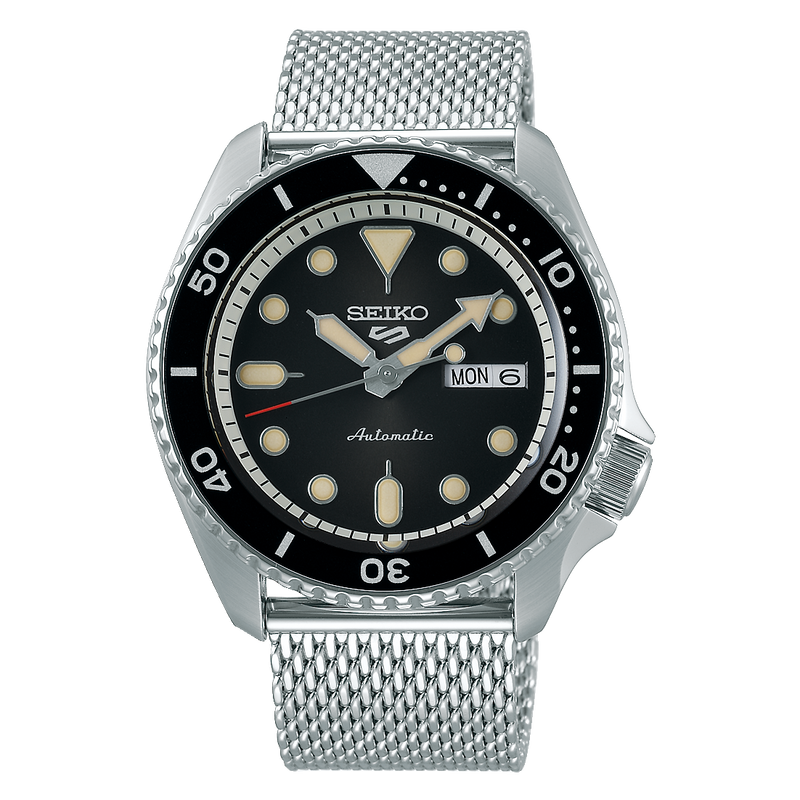 SEIKO WATCH AUTOMATIC GTS STAINLESS STEEL ROUND FACE BLACK DIAL LUMIBRITE ON HANDS AND INDEXS 24 JEWELS, DAY & DATE DISPLAY, SCREW CASE BACK SEE-THROUGH,  MESH BAND 10 BAR WATER RESISTANCE
