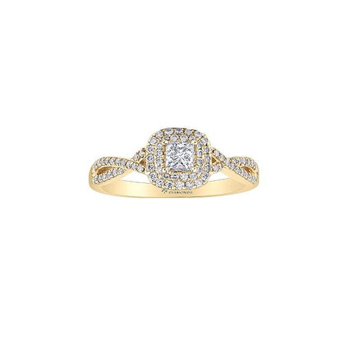 10 K YG 73 DIA= .50 CTW ( 1 CTR PRINCESS CUTCAD DIA= .23 CT, VS1, K COLOUR / CUSION SHAPE DOUBLE HALO STYLE DIA= .16 CTW, SHOULDER DIA= .105 CTW)  INFINITY STYLE. CLAWS SETTING ENGAGEMENT RING CAD # MLR439509