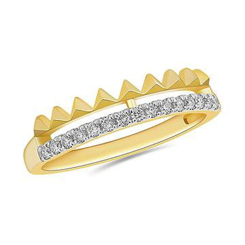 10K Yellow Gold and Diamond Triangle and Diamond Row Ring in Prong Setting (32321)