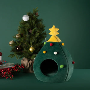 Christmas Tree Pet-Bed Winter Warm Nest House For Cats & Dogs