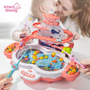 Infant Shining Magnetic Fishing Kids Electric Fishing Toy