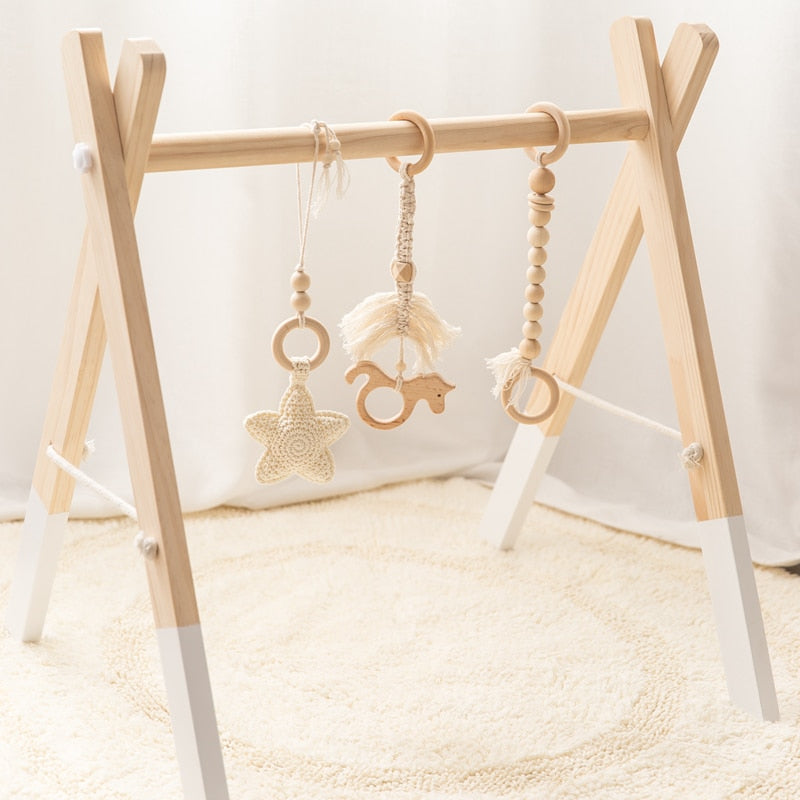 Baby Gym Wood Crochet Star Bell Unicorn Beech Wood Teething Toys