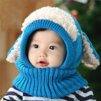 Baby Autumn and Winter Children's Hat Cute with Ears Puppy Shawl One-piece
