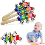 1 pc Wooden Stick 10 Jingle Bells Rainbow Hand Shake Bell Rattles Baby Kids Children Educational Toy