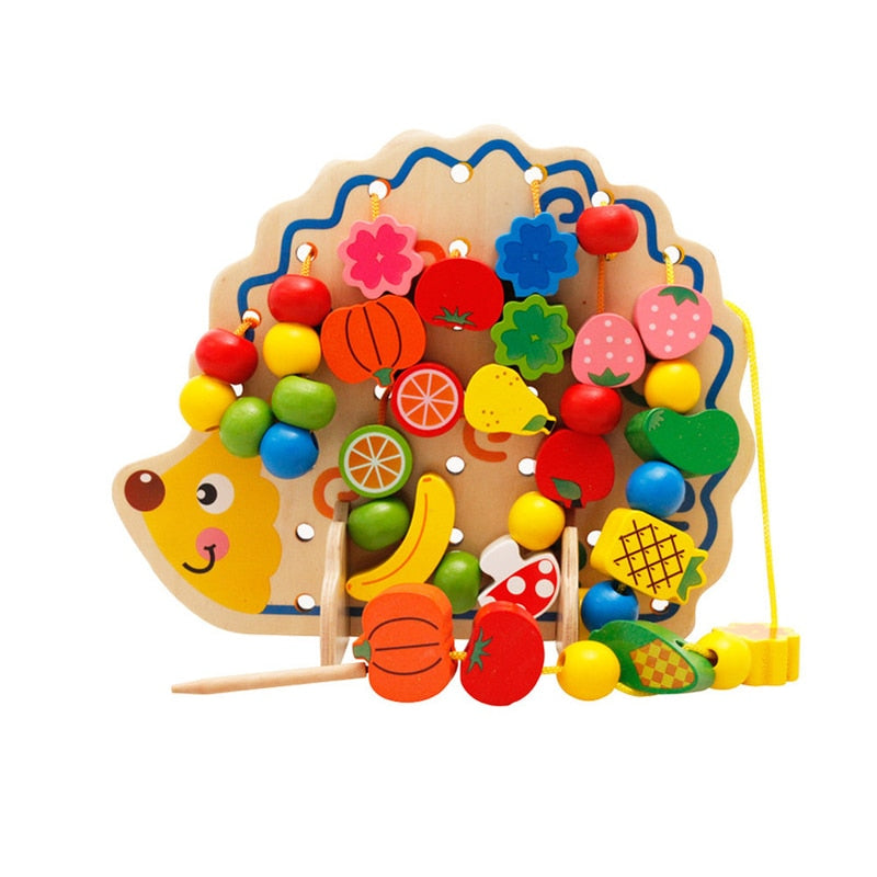 Child Threading Blocks Wood Beads Baby Toys