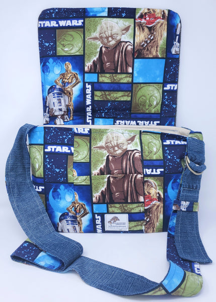 Star Wars, messenger bag, custom, handmade, giveaway, upcycle, love, yoda, c3po, r2d2, may the fourth be with you