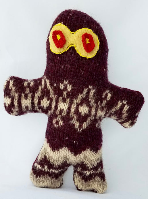 wool sweater  wool  upcycled  upcycle  Toy  squeaker  sale  red eyes  red  recycle  OOAK  One of a kind  Knitting  Knit  kid toy  kid  handmade doll  Handmade  gingerbread man  felted wool  doll  dogs  Dog Toy  dog lover  Dog  craft  child's toy  child